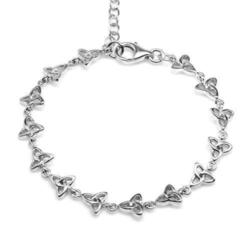 925 Sterling Silver Triquetra Celtic Knot 6-7.5 Inch Adjustable Bracelet