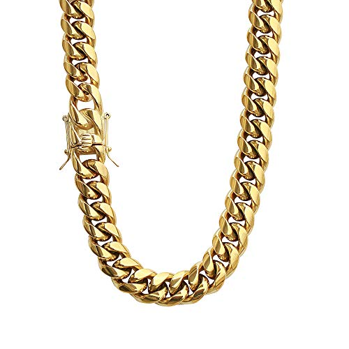 PY Bling Mens Heavy Miami Cuban Link Chain Choker 14k Gold Plated Hip Hop Thick Stainless Steel 10mm-14mm Necklace/Bracelet (12mm,16)