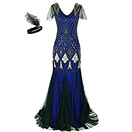 aifuu Women 1920s Gatsby Dress Long Prom Gown Beaded Sequin Mermaid Hem Ball Evening Dress with Sleeve Headband Free GA80 (2XL, Blue Gold)