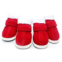 URBEST 2 Pairs Christmas Red Nonslip Snow Chihuahua Winter Warm Soft Dog Shoes Boots M