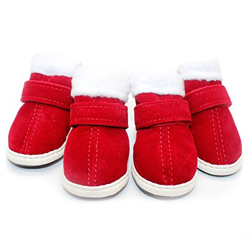 URBEST 2 Pairs Santa Red Puppy Nonslip Soft Christmas Cute Warm Winter Dog Shoes Boots S (Plush Puppies Santa)