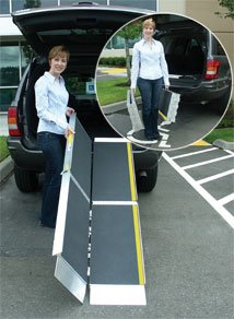 Wheelchair Ramp - 6' L x 29'' W. Made in USA. This Trifold Advantage Series Ramp fits to steps, vehicles and raised landings for wheelchairs or scooters. Bottom transition plate ''floats'' to self-adjust. This ramp separates into two lightweight sections for