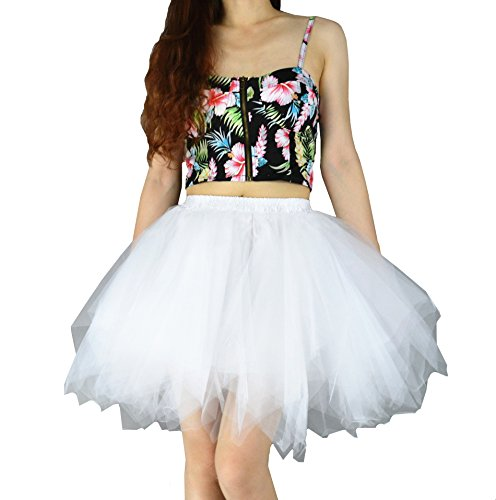 YSJ Women's Tutu Tulle Mini A-Line Petticoat Prom Party Skirt Fun Skirts (M, White) (Ruffled White Pettiskirt)
