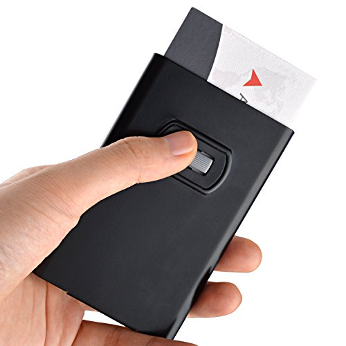 MaxGear Thumb-sliding Business Card Holder Stainless Steel Business Name Card Case Slim Metal business Card Holders