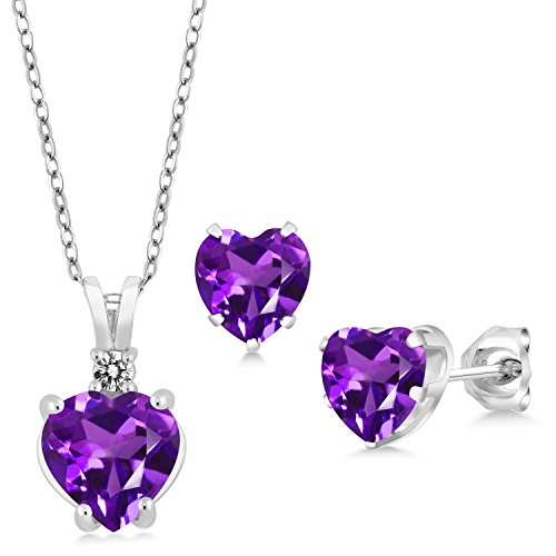 - 2.77 Ct Heart Shape Purple Amethyst 925 Sterling Silver Pendant Earrings Set