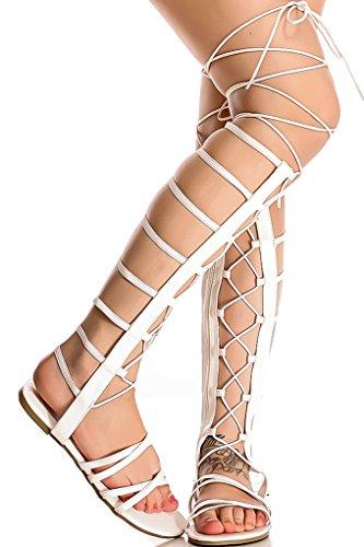 Lolli Couture Per Sempre Cinturino In Ecopelle Multi Strap Look Posteriore Cerniera Sandalo Gladiatore Open Toe Style Bianco-raku-65s