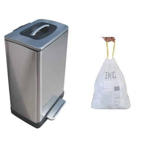 Household Essentials Trash Krusher Manual Trash Compactor, 40 L, Stainless Steel with 12 Liners