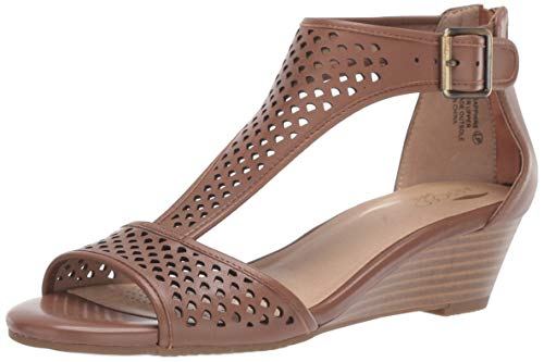 Aerosoles Women's Sapphire Wedge Sandal, Dark Tan Leather, 9.5 M US
