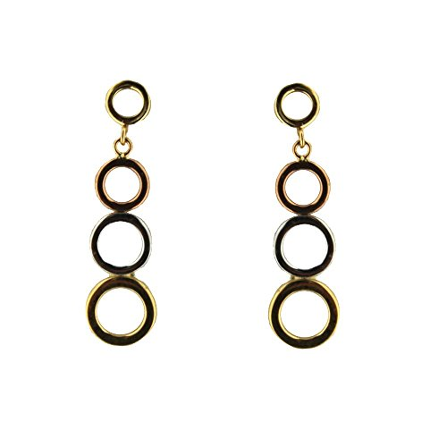 18K Tri Color dangle circles earrings post 1.10 inch by Amalia