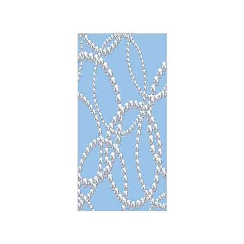Decorative Privacy Window Film/Pearl Necklace Bracelet Classic Women Bridal Groom Shower Theme Feminine Art Decorative/No-Glue Self Static Cling for Home Bedroom Bathroom Kitchen Office Decor Baby Blu ()