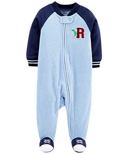 Carter's Little Boys' Football Micro-Fleece Sleeper (3 Months, Blue Dino)