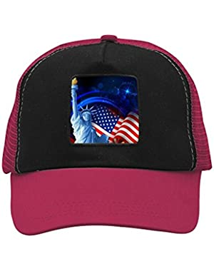 Unisex American Flag and Statue of Liberty Trucker Hat Adjustable Mesh Cap