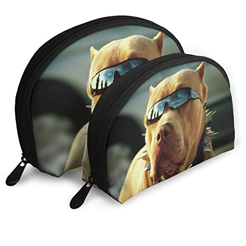 Dog Sanitary Garments - 3D Pitbull Dogs With Cool Glasses Women's Shell Portable Bags Clutch Pouch Cosmetics Bags