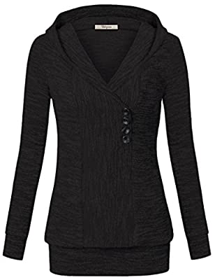 Bebonnie Women's Long Sleeve Button Front Sweatshirt Casual Hoodies Pullover