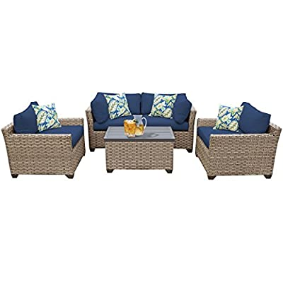 "TK Classics Monterey 5 Piece Outdoor Wicker Patio Furniture Set, Navy - FULLY ASSEMBLED - Seating area is ready to use and enjoy with family and friends Imported from China 32"" x 25"" x 32"" - patio-furniture, patio, conversation-sets - 41MF5QwU4nL. SS400  -"