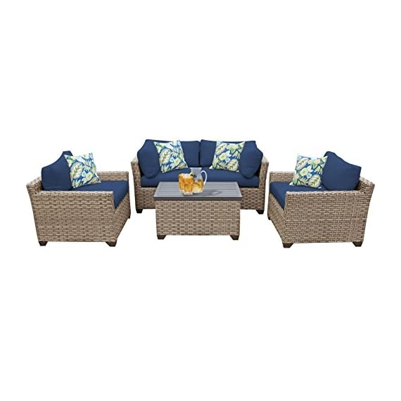 """TK Classics Monterey 5 Piece Outdoor Wicker Patio Furniture Set, Navy - FULLY ASSEMBLED - Seating area is ready to use and enjoy with family and friends Imported from China 32"""" x 25"""" x 32"""" - patio-furniture, patio, conversation-sets - 41MF5QwU4nL. SS570  -"""