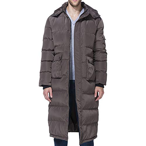 (PANLTCY Men's Packaged Down Puffer Jacket with Hooded Compressible Long Coat (Large, Brown)