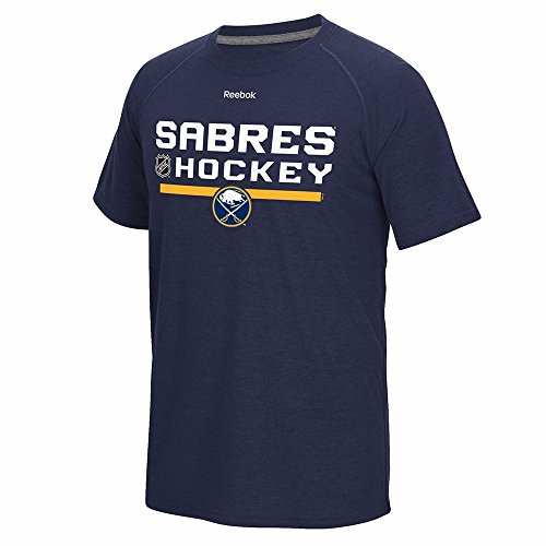 Reebok Buffalo Sabres NHL Navy Blue Authentic Locker Room Graphic PlayDry Performance Ultimate T-Shirt for Men (S)