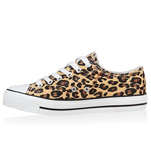 Flandell Herren Damen Sneaker Low Leopard Übergrößen Stiefelparadies Unisex RU8wYY