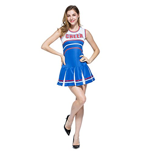 Ladies Sexy Varsity High School Cheer Girl Cheerleading Uniform Halloween Fancy Dress Costume Cheering Poms Attached