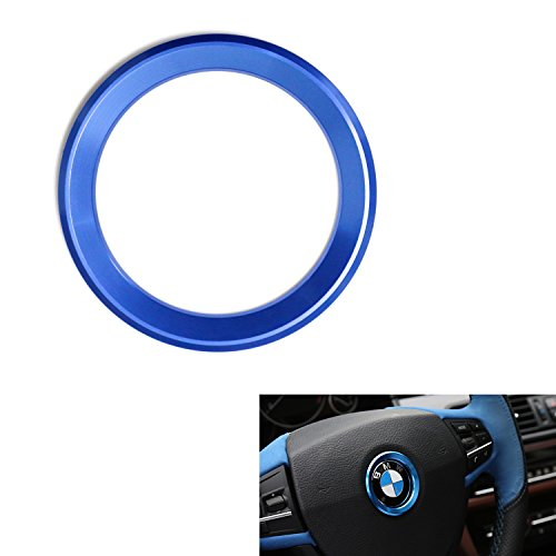 iJDMTOY (1) Sports Blue Aluminum Steering Wheel Center Decoration Cover Trim For BMW 1 2 3 4 5 6 Series X4 X5 X6 (F20 F21 F22 F23 F30 F31 F32 F33 F35 F36 F10 F11 F12 F13 F26 F15 F16) - Center Cover Steering Wheel Wheels