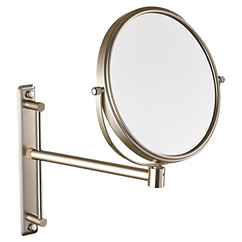 GURUN Two-Sided Swivel Wall Mount Magnifying Mirror Brushed Nickel with 10x Magnification 1106N(8 Inches,10x)