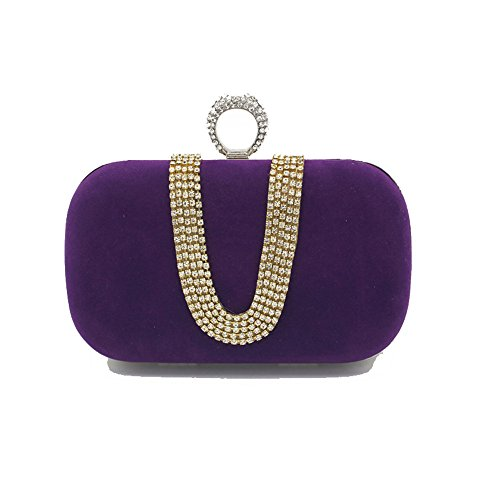 à Blue de Womens la Sac Mariée rabbit Sac Strass Lovely Main Maman à Soirée Élégant Color Maquillage Royal de Main Purple Y4pxqw