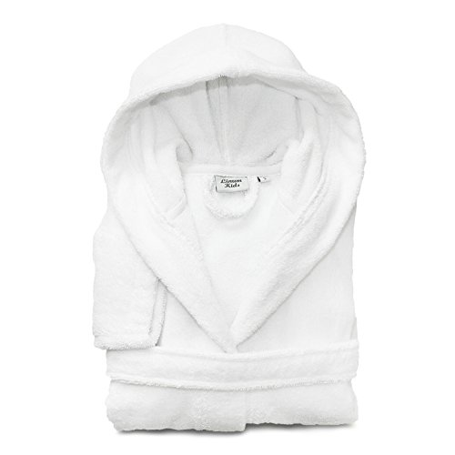 Linum Kids Luxury Children's Hooded Bathrobe 100% Premium Turkish Terry Cotton Robe, Medium, Soft White