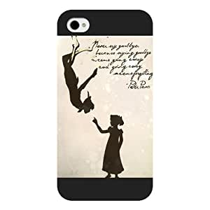 Customized Black Frosted Disney Cartoon Peter Pan iPhone 4 4s case