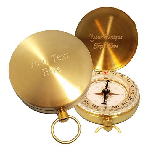 - Stanley London Engraved Solid Brass Wilderness Scouting Compass (Front and Inside)
