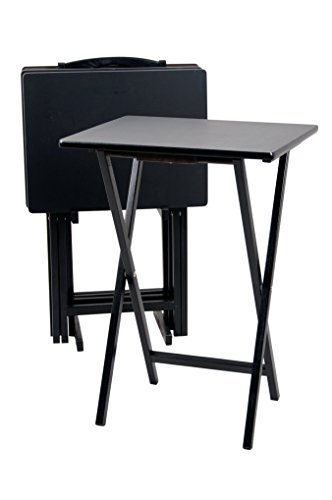 PJ Wood 5-piece Set TV Tray Table in Black Finish Wood Tray Tables