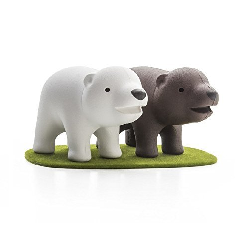 Cute Salt and Pepper Shakers Brother Bear by Qualy Design Studio. White and Brown Shakers on Green Color Lawn Magnetic Base. Great New Home Owner Present. Cool Housewarming Gift.