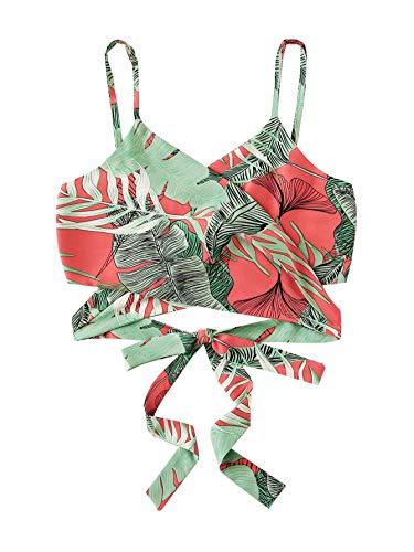 Verdusa Women's Spaghetti Strap Knot Back Crop Top Wrap Cami Top Tropical Print S ()