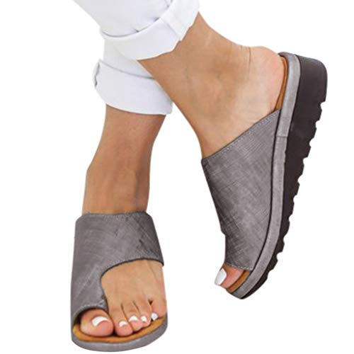 Amlaiworld Women Wedge Slippers Sandals Fashion Flatform Shoes Open Toe Thick Bottom Roman Slippers Beach Sandals (US:7.5, Gray-1) ()
