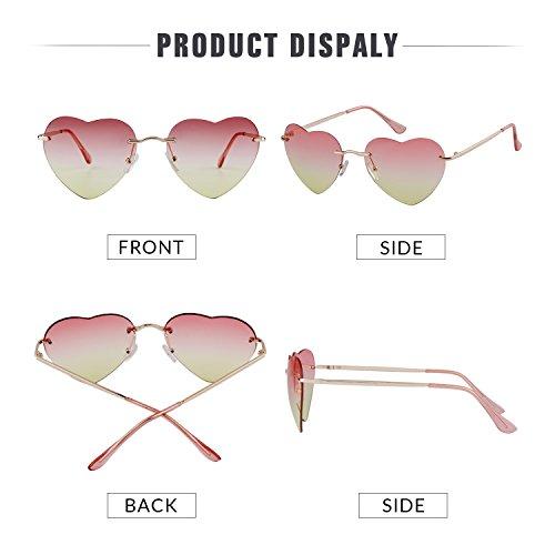 de forme Sunglass en New Femmes Red ADEWU fille sans lunettes de plage Yellow coeur monture Sxwq8nF