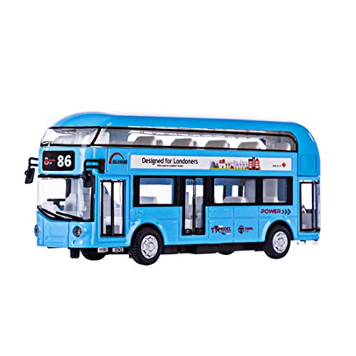 (HMANE Pull Back Cars Alloy Double Decker School Bus Construction Vehicles Mini Model Car Toys with Light for Kids Boys Girls Toddlers - (Blue) )