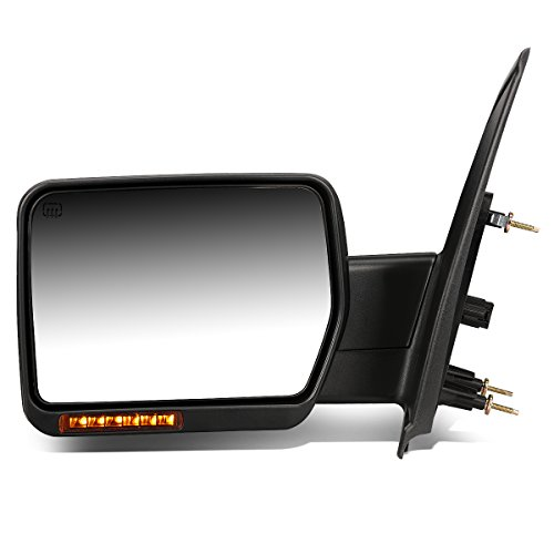 (For Ford F150 Black Powered Heated Glass + Turn Signal Light Side Towing Mirror (Left/Driver))