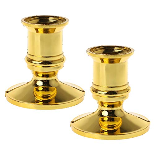STEBCECE Candle Holder, 2pcs Gold Plated Candle Holder Pillar Candlestick Stand for Electronic Candles Tapers Party Decor (Holder Gold Plated)