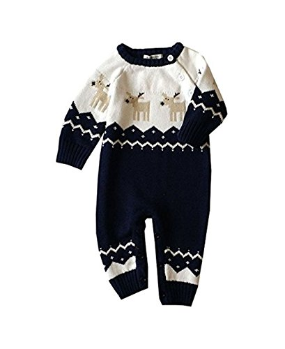 Meridiaga Unisex Neugeborenes Baby Lange Ärmel Christmas Muster Strick Strampler Warme Pullover (70, Blau)
