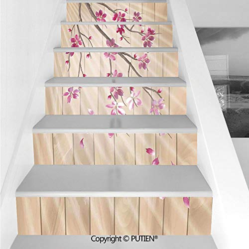 - Unique Stair Stickers Wall Stickers,6 PCS Self-Adhesive [ House Decor,Spring Cherry Twig Falling Pet
