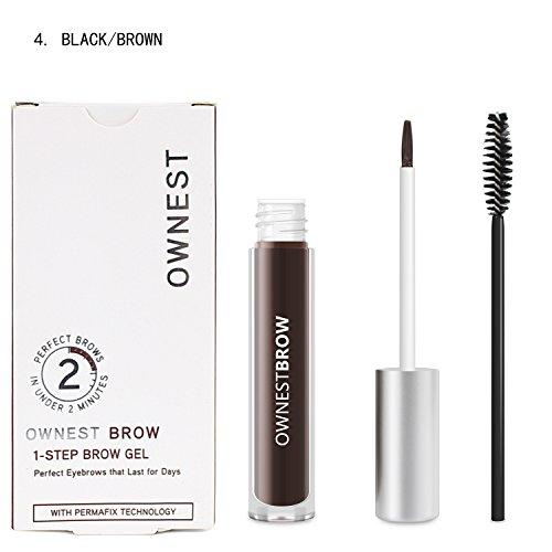 Ownest Makeup 4 Colors Eyebrow Color Perfect Eyebrows Waterproof Eyebrow Gel-Black/Brown