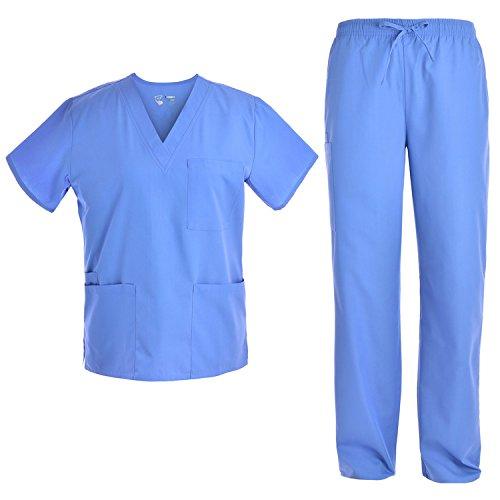 Unisex V Neck Scrubs Set Medical Uniform - Women and Man Nursing Scrubs Set Top and Pants Workwear JY1601 (Ceilblue, M)
