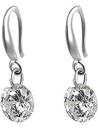 Round Shine Bling Bling Zirconia Dangle Earrings Lady Girl