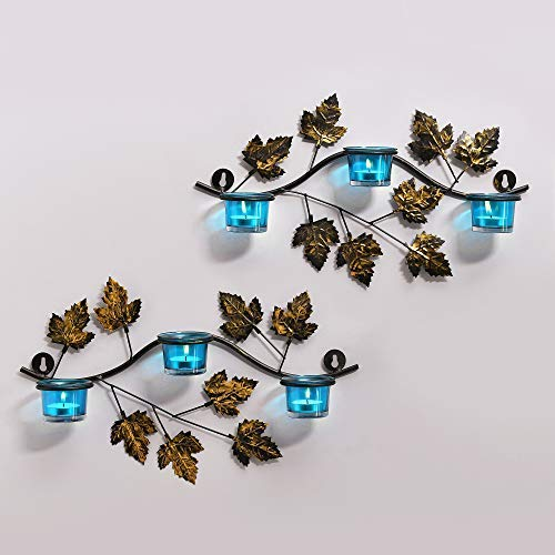 (tecmac Maple Leaf Wall Mount with 3 Votive Turquoise, Wall Candle Holder and Free Tealight Candles)