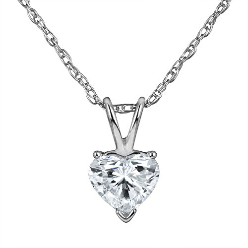 Heart Shape Diamond Solitaire Pendant Necklace set in 14k Gold H-I I1 IGI Certified (white-gold, 0.23) Heart Shape Natural Diamond Solitaire