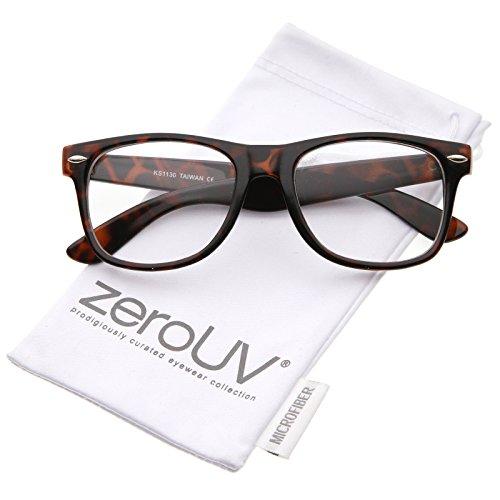 zeroUV - Retro Wide Arm Square Clear Lens Horn Rimmed Eyeglasses 54mm (Brown-Tortoise / - Rimmed Wide Glasses