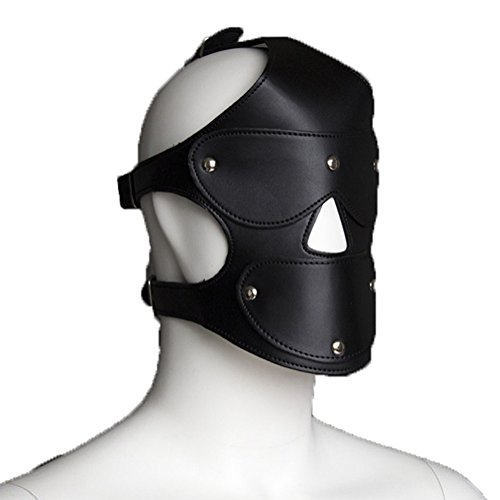 Raycity Black Leather Costume Gimp Mask Hood Style 24