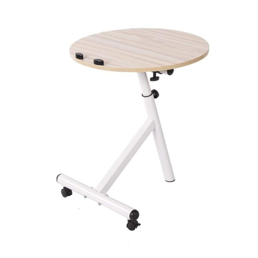 Wood 4844-75cm Tingting Side Table Laptop Table Side Table Desk Height Adjustable Portable Stand with Baffle Balcony Sofa Corner Round Drop-Leaf Table (color   Black, Size   48  44-75cm)