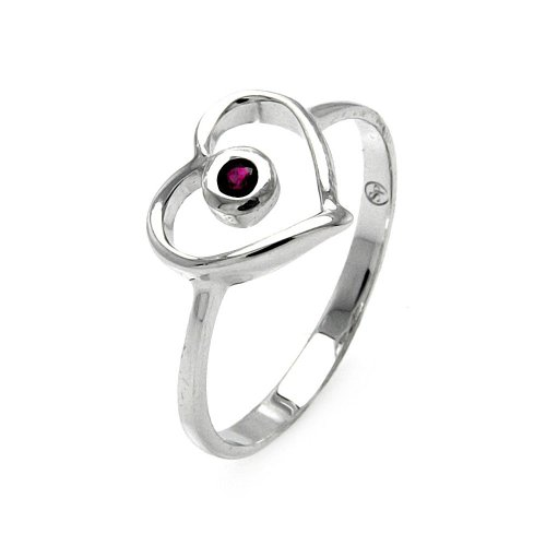 20mm Open Heart Ring - Small Simulated Garnet Cubic Zirconia Open Heart Ring Rhodium Plated Sterling Silver Size 5