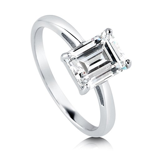 Emerald Cut Cubic Zirconia Ring - BERRICLE Rhodium Plated Sterling Silver Cubic Zirconia CZ Solitaire Engagement Ring Size 5.5